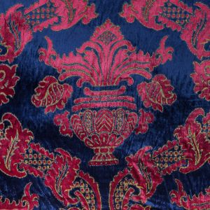 Deep Ultramarine and Red Bud Large-Scale Damask Velvet with Metallic Gold Foil