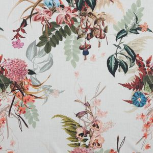 Mood Exclusive Ile des Orchidees Pale Green and Coral Cotton Voile