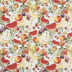 Mood Exclusive Rafraichir des Fruits White and Multicolor Stretch Cotton Sateen