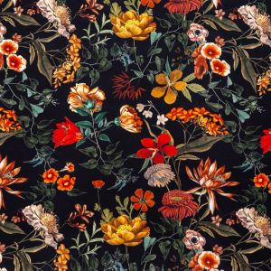 Mood Exclusive Garden of Earthly Delights Black Stretch Polyester Crepe