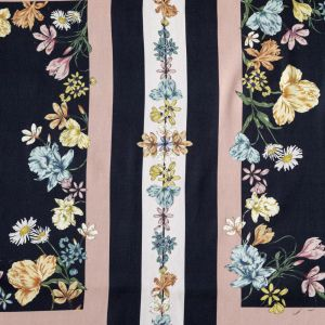 Mood Exclusive Fall Flowerbeds Black and Beige Stretch Cotton Sateen