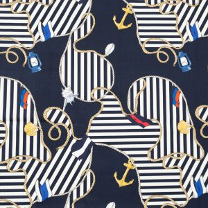 Mood Exclusive Navy Maritime Adornments Stretch Cotton Sateen