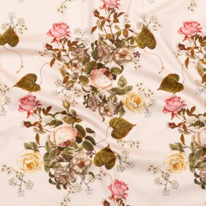 Mood Exclusive Silver Peony Blossoms of the Heart Stretch Cotton Sateen