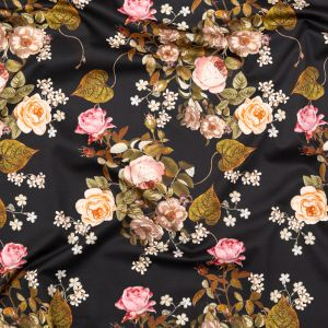 Mood Exclusive Black Blossoms of the Heart Stretch Cotton Sateen