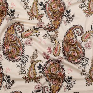 Mood Exclusive Cream Pink Leaving Footmarks Stretch Cotton Sateen