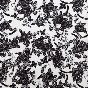 Mood Exclusive Star White and Black Prophetic Dreams Stretch Polyester Crepe