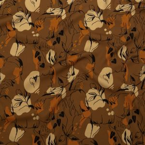 Mood Exclusive Contoured Personage Brown Stretch Polyester Crepe