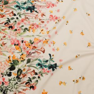 Mood Exclusive Blooming Upwards White Stretch Cotton Sateen