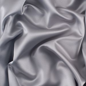 Silver Solid Polyester Satin