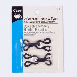 Set of 10 Large Size Gold Fabric Covered Furrier Hooks and Eyes