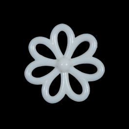 6 Vintage flowers buttons white rose plastic 23mm