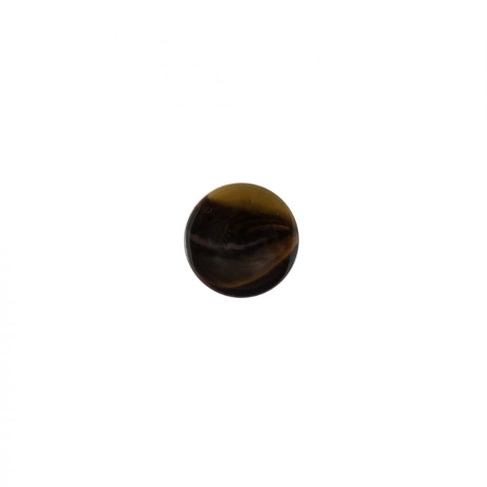 Italian Brown Glossy Shank Back Button - 14L/9mm