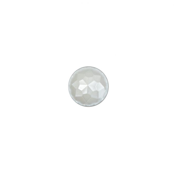 Italian White Plated Bevel-Cut Button - 14L/9mm