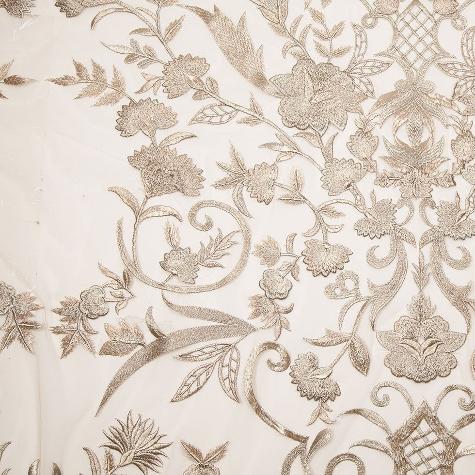 Delta River Designs Beaded FloralFlower Fabric Lace Fabric By The Yard Embroidered Beaded On A Mesh For Bridal Veil Fuchsia