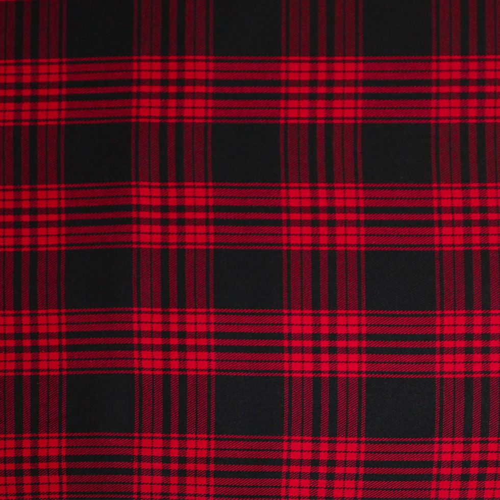 Blanket fine plaid fleece and cotton liberty red dark pink flowers