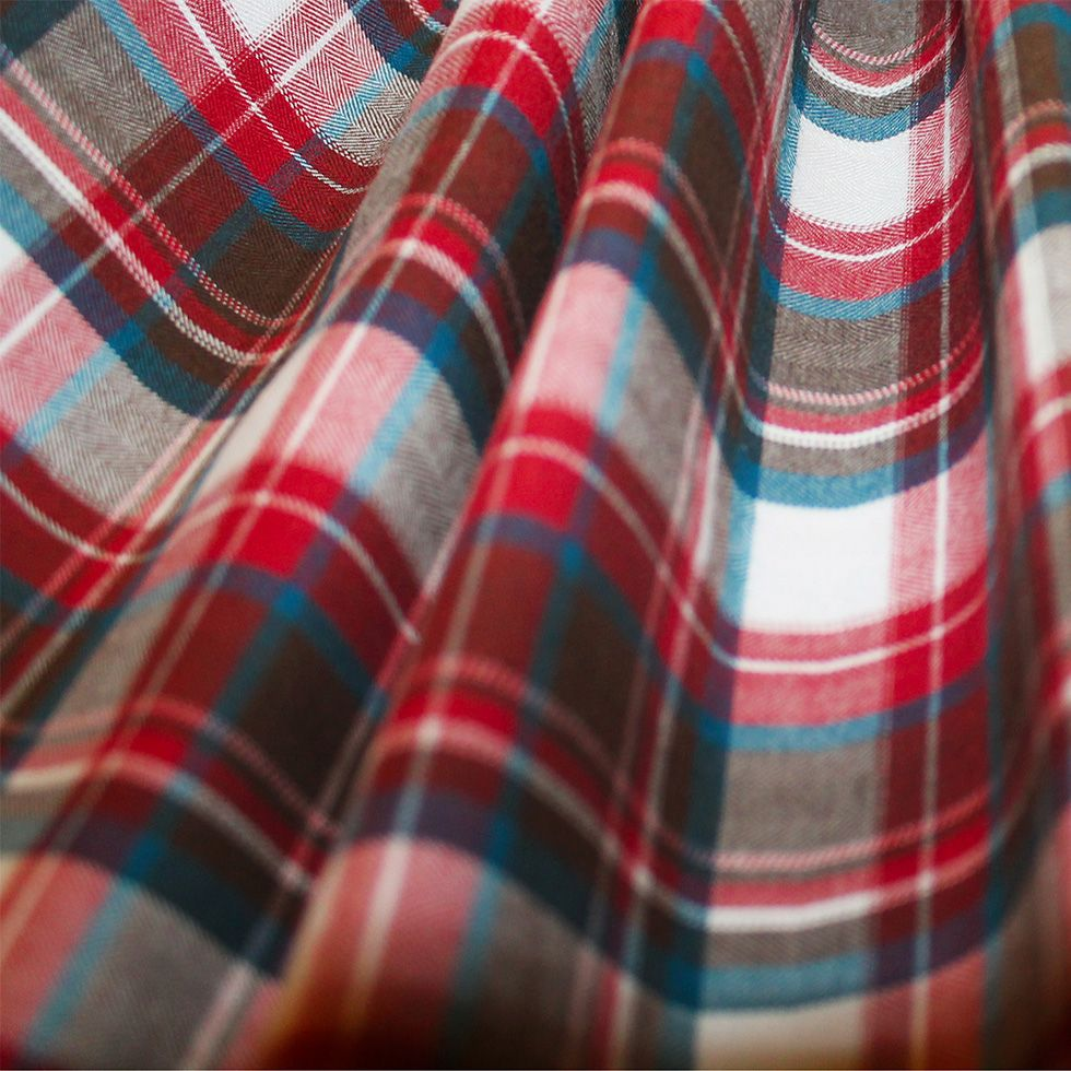 Blue plaid check with red hearts  100/% cotton flannel  41-44 wide