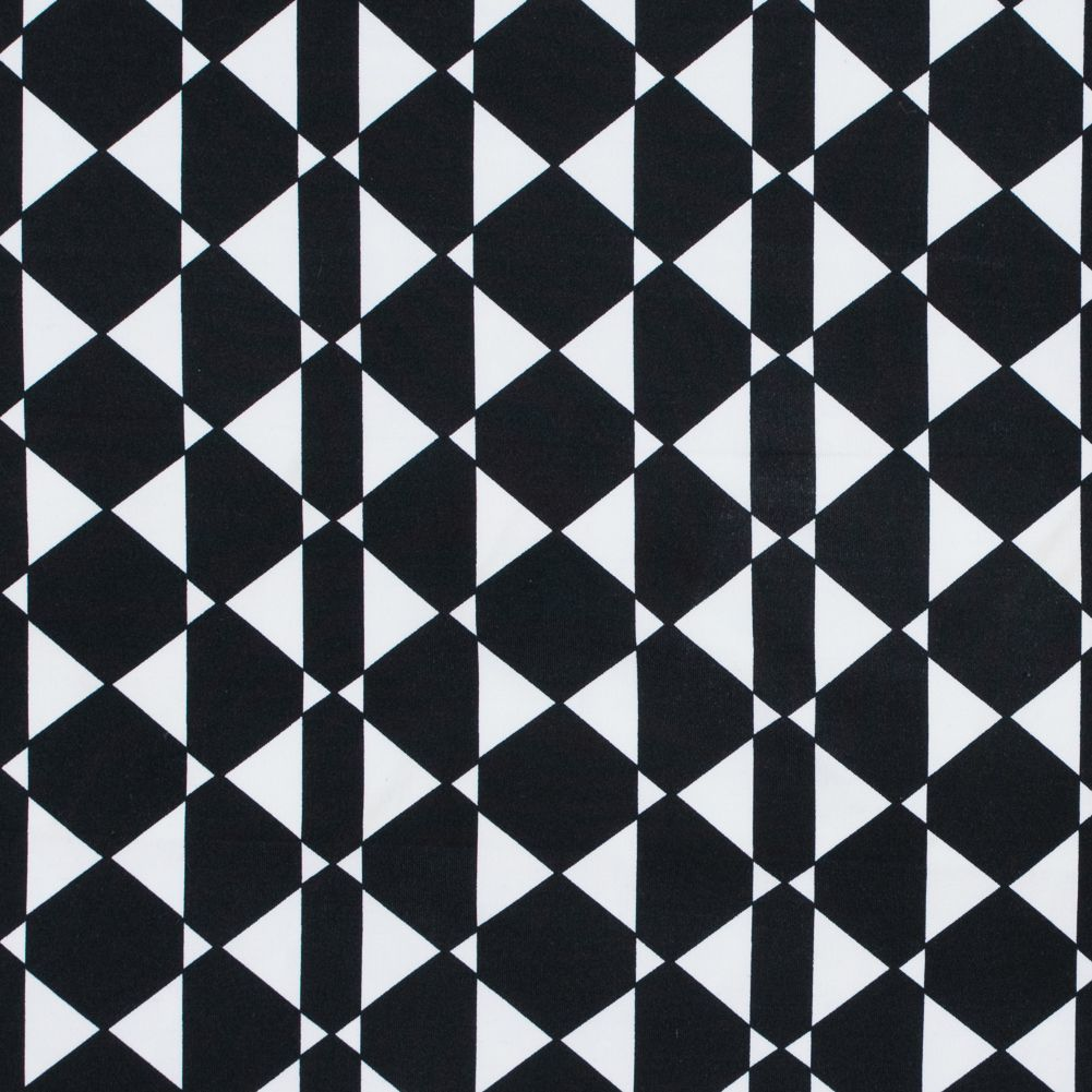 Black and White Knit Fabric Stretch Knit in Geometric Type Print