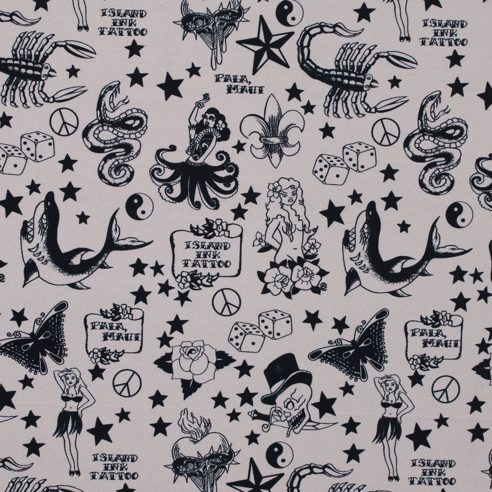 Simply Taupe and Black American Traditional Tattoo Style Printed Spandex