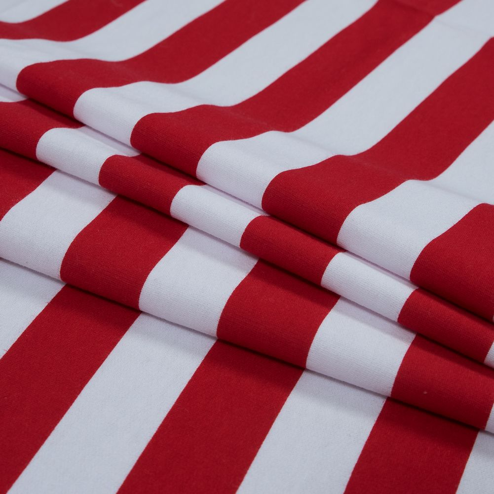 Red and White Awning Striped Cotton Fleece