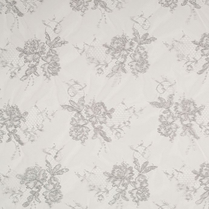 Metallic Silver Floral Lace Fabric