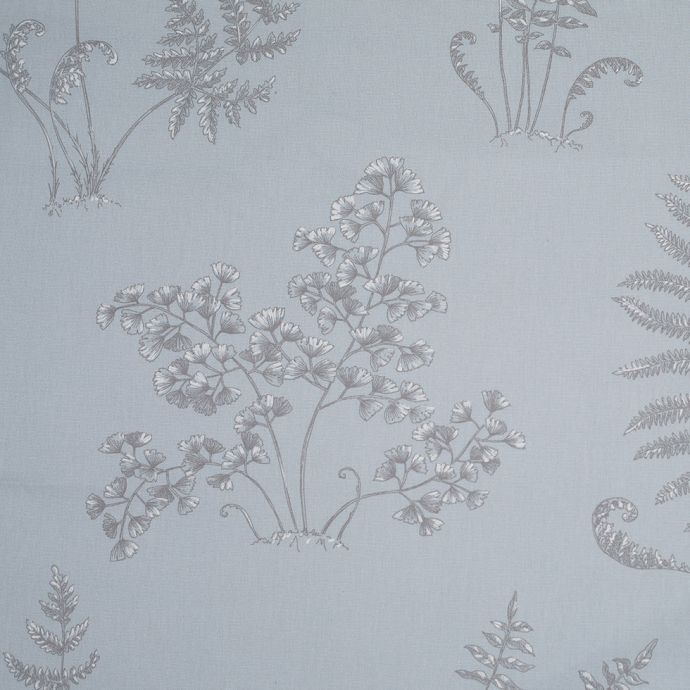 Sky Blue and Gray Ferns on Cotton