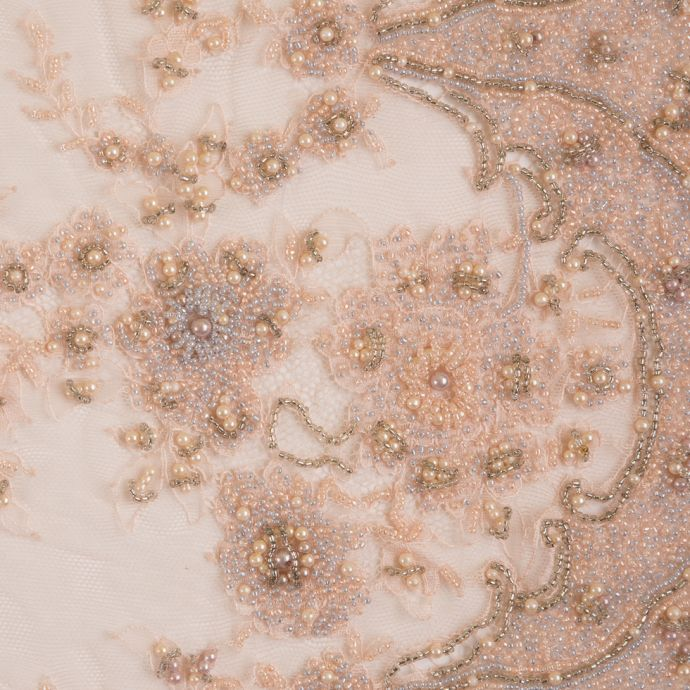 Pink Floral Beaded Lace