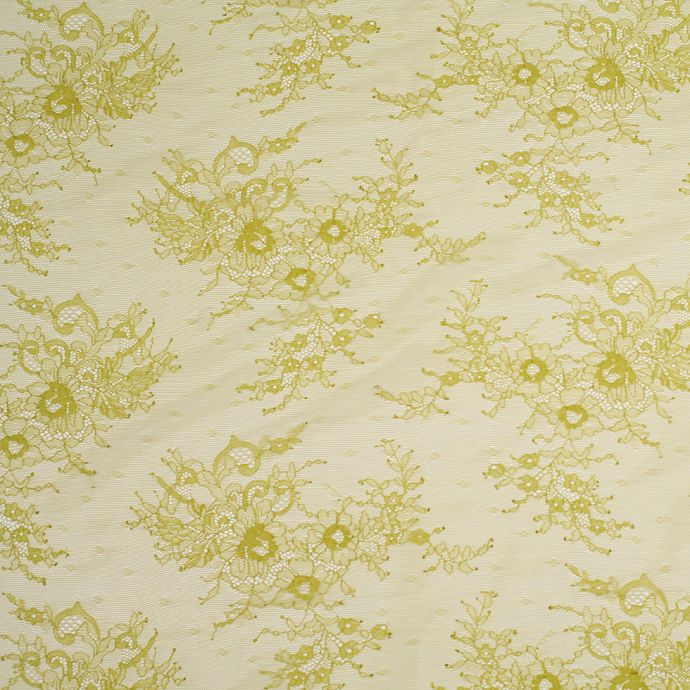 Chartreuse Floral Lace Fabric
