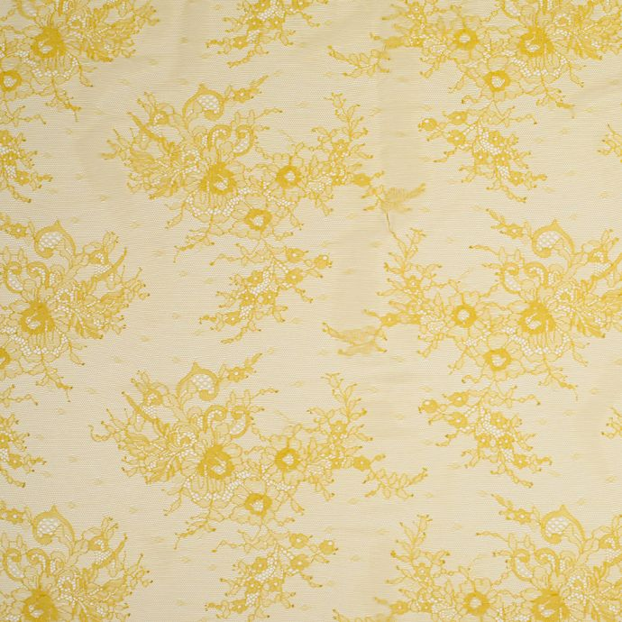 Maize Yellow Floral Lace Fabric