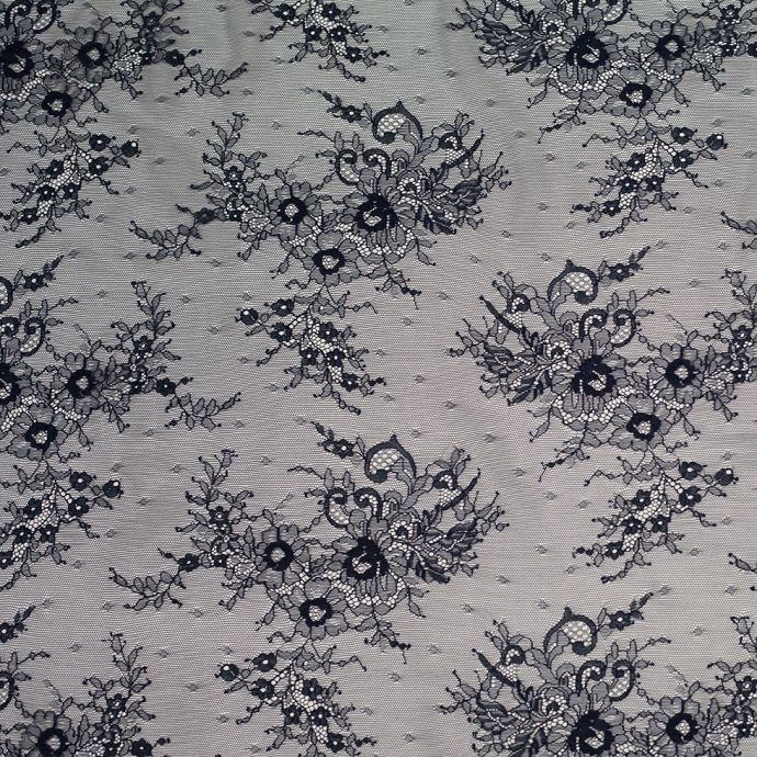 Navy Floral Lace Fabric