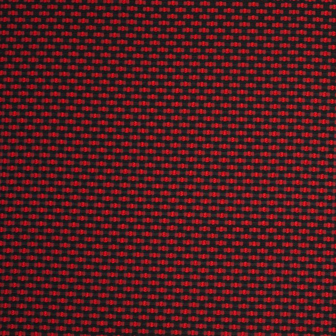 Black and Red Polka Dotted Polyester Jacquard