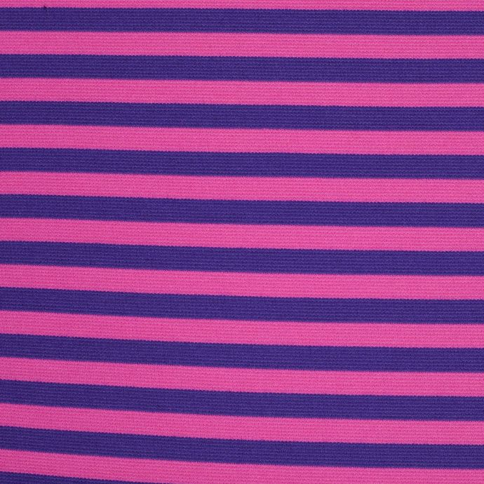 Purple and Fuchsia Striped Polyester Blended Ponte De Roma