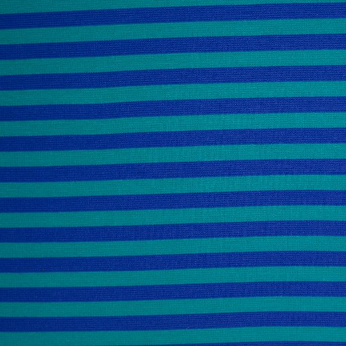 Blue and Jade Striped Polyester Blended Ponte De Roma