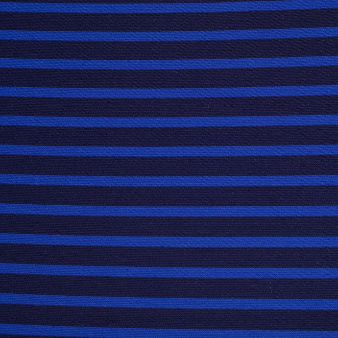 Navy and Royal Blue Striped Polyester Blended Ponte De Roma