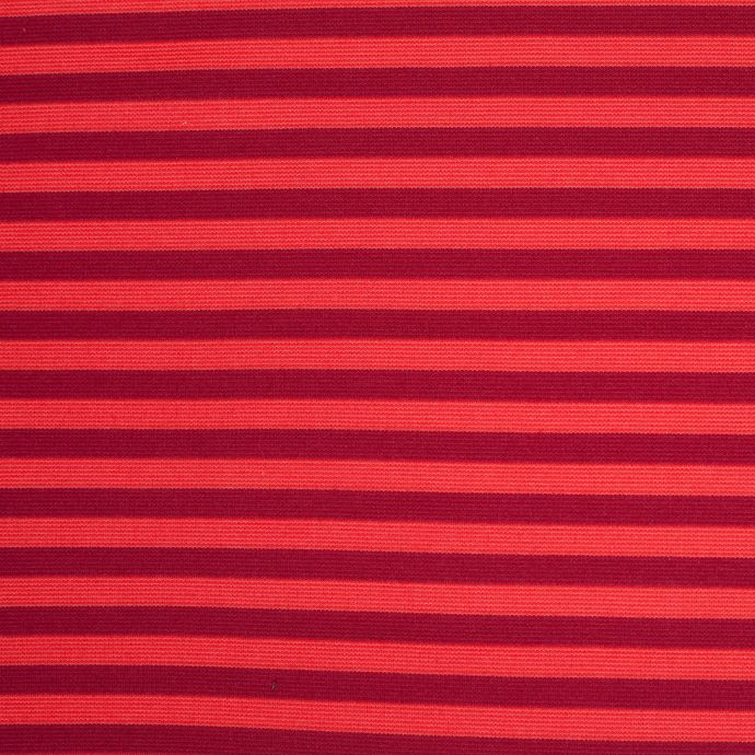 Red and Orange Striped Polyester Blended Ponte De Roma