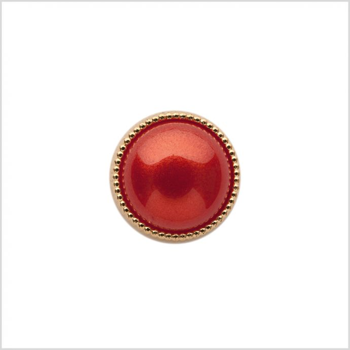 Italian Red/Gold Shank Back Button - 20l/12mm