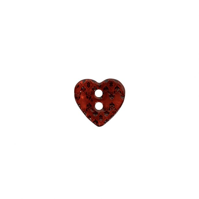 Italian Red Heart-Shaped Shell Button - 18L/11.5mm
