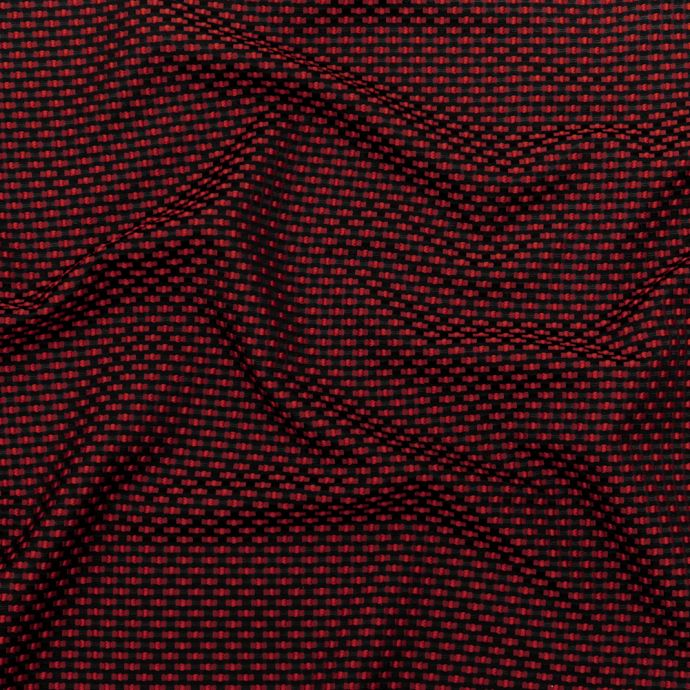 Red on Black Polka Dotted Polyester Jacquard