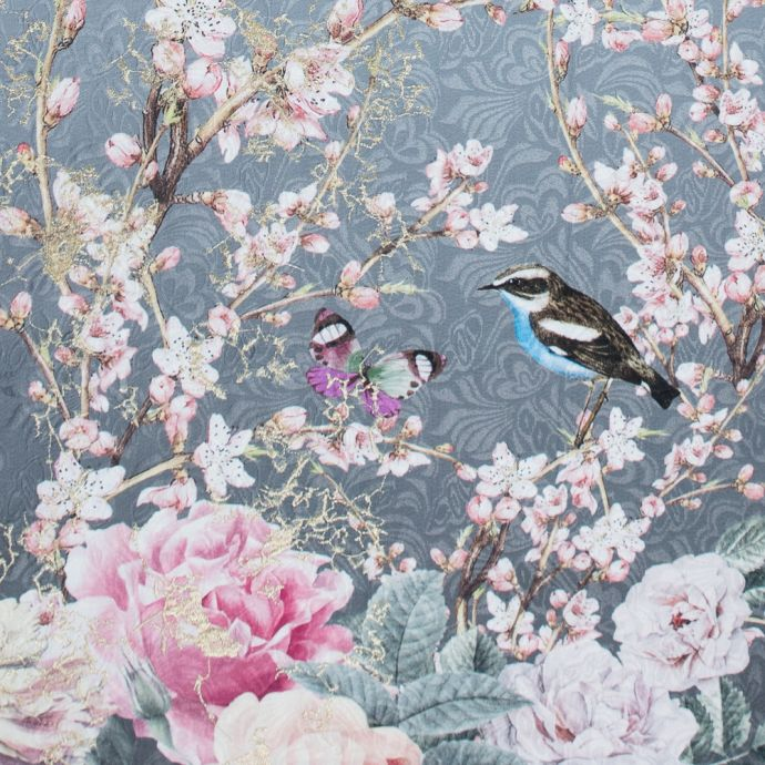 Birds and Branches Digitally Printed on a Gray Butterfly Jacquard with Metallic Gold Embroidery