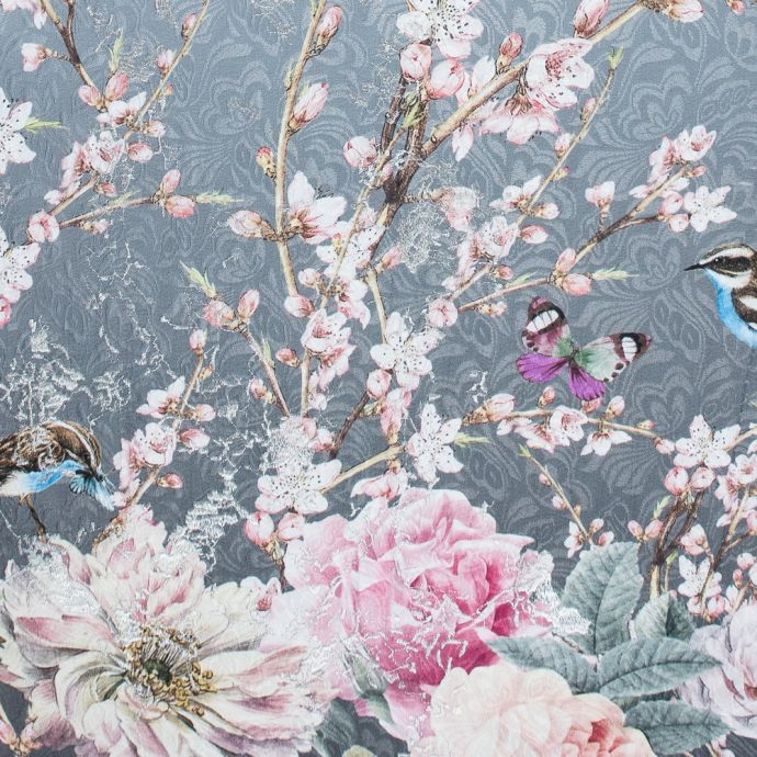 Birds and Branches Digitally Printed on a Gray Butterfly Jacquard with Metallic Silver Embroidery