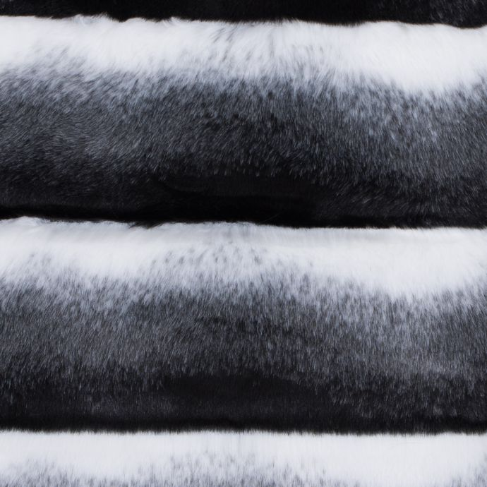 Black, White and Gray Ribbed Ombre Faux Fur
