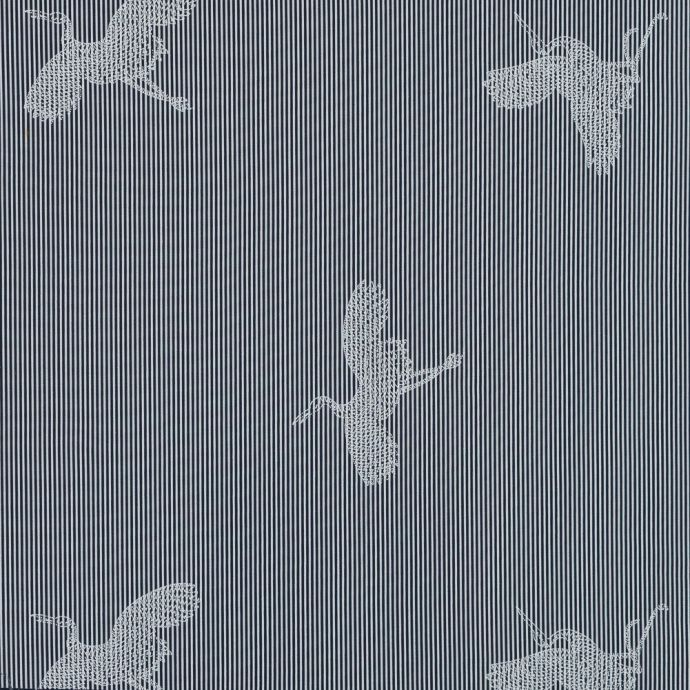 Navy and White Striped Cotton Poplin with Cranes