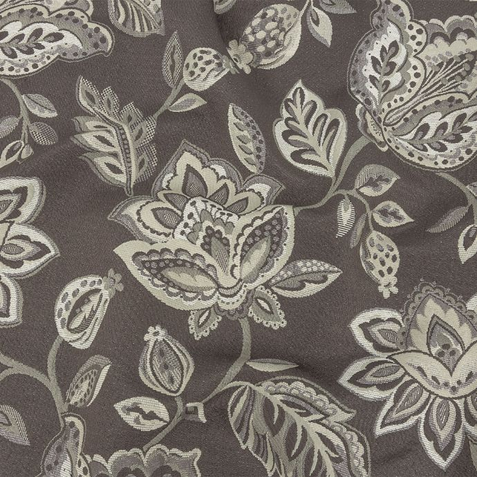 Gradient Gray Jacobean Floral Blended Polyester Jacquard