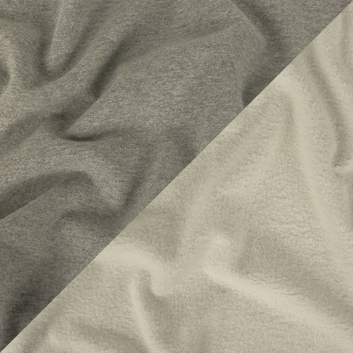 Heathered Gray and Ivory Cotton Fleece Backed Jersey