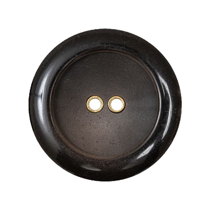 Brown with Gold Inset Two-Hole Saucer Button - 44L/28mm