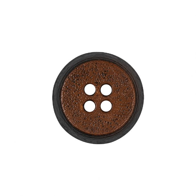 Gingerbread and Deep Charcoal Speckled Textured 4-Hole Molded Plastic Button - 32L/20mm