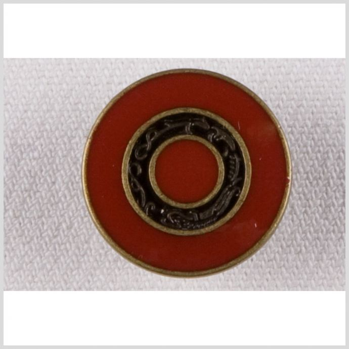 Red/Brass Metal Coat Button - 32L/20mm