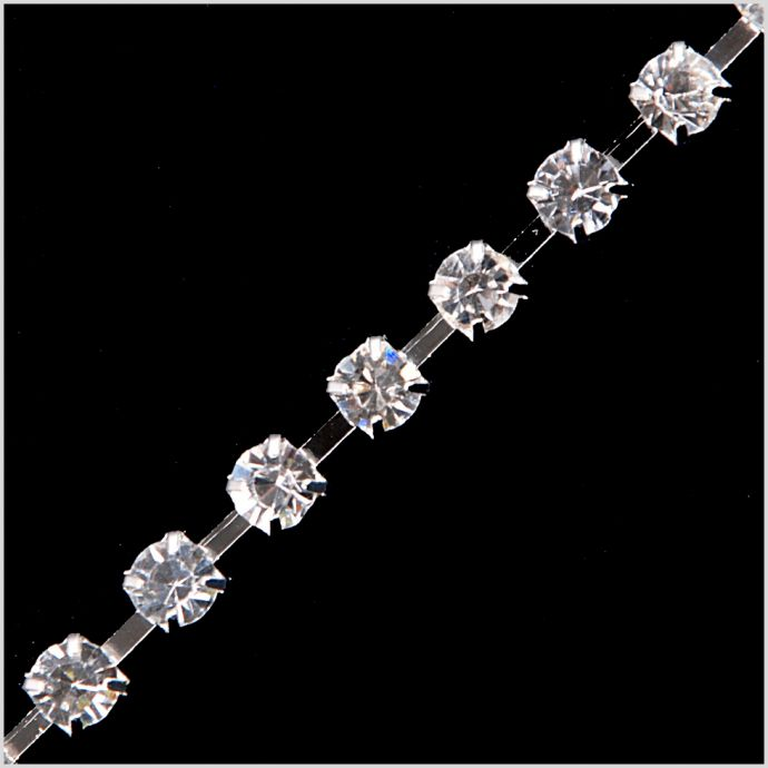 SS24 Silver and Crystal Rhinestone Trimming with Plastic Casing
