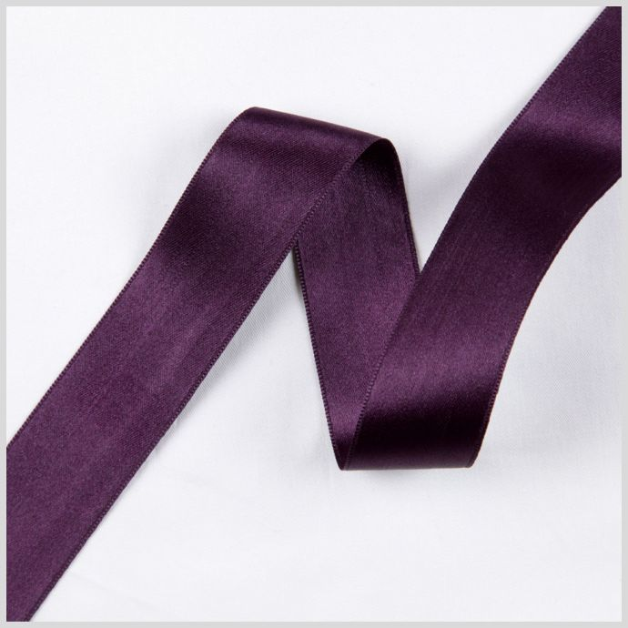 2.5 Deep Plum Double Face French Satin Ribbon