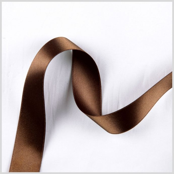 Light Brown Double Face French Satin Ribbon - 1