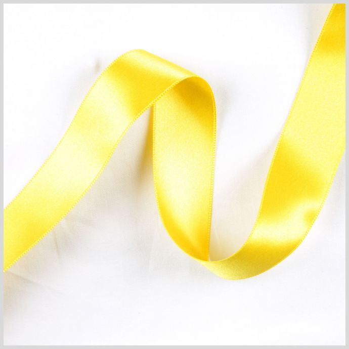 Yellow Double Face French Satin Ribbon - 1
